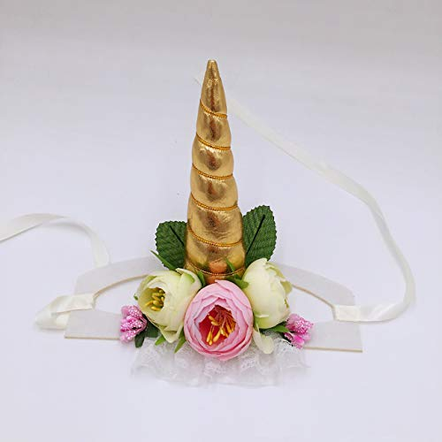 Uheng Pet Halloween Costumes Unicorn Horn Headband Dogs Cats Flower Adjustable Flexible Head Piece Hat Headpiece Cosplay Dogs Cats Christmas Festival Party Gift]()