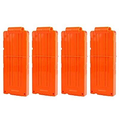 PeleusTech Bullet Clip, 4Pcs Soft Bullet Clips 12 Bullets Dart Clips Magazine Clip for Nerf Toy Dart - Orange: Toys & Games