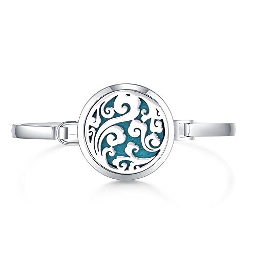 Mesinya New 30mm Ocean Wave Swirl Aromatherapy /316L s.steel Essential Oils Diffuser Locket bracelet bangle 7'' wrist (Style 3) (Bracelet Style Wave)