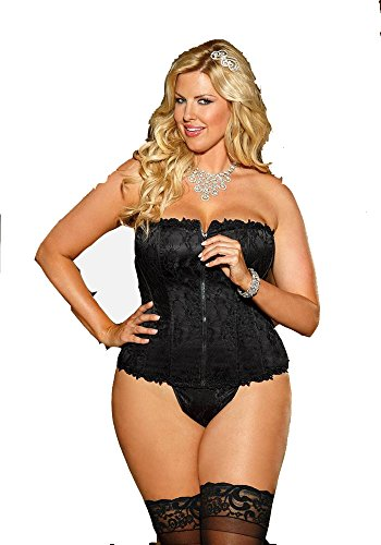 Shirley of Hollywood Stretch Lace Overlay Corset with Front Zipper, Black/Black, 44 ()