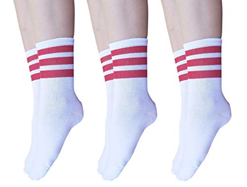 AM Landen Super Cute Women's 3 pairs White with Red Ankle Striped Socks Women's Crew Socks]()