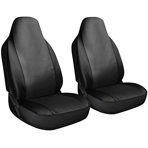 (Motorup America Leather Auto Seat Cover High Back Integrated Set - Fits Select Vehicles Car Truck Van SUV - Solid)