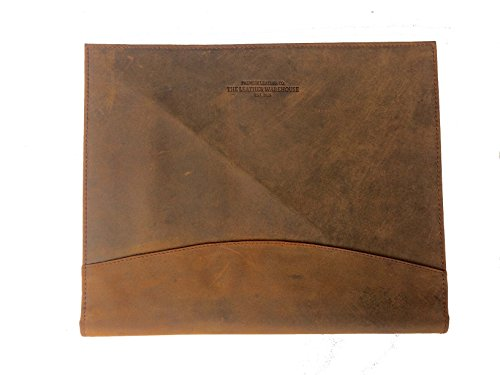 THE LEATHER WAREHOUSE Men/Women Handmade Office Folder Multipurpose Cow Leather Padfolio/ Resume Portfolio Folder - Interview/ Legal Document Organizer & Business Card Holder Brown - Leather Legal Document