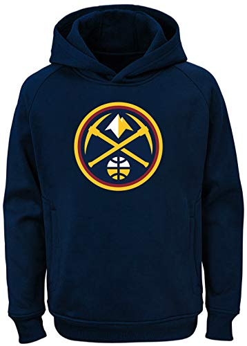 Outerstuff NBA Youth Team Color Performance Primary Logo Pullover Sweatshirt Hoodie (Medium 10/12, Denver Nuggets Navy)