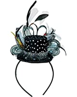 Amscan Glamorous 20's Old Hollywood Mini Sequins Hat Headband with Feathers (1 Piece), Black/White, 10.3 x 6""