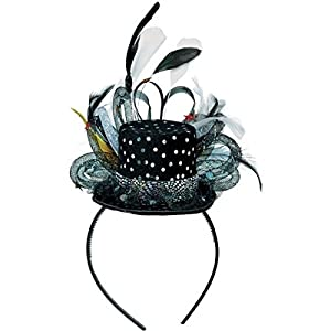 Amscan Glamorous 20's Old Hollywood Mini Sequins Hat Headband with Feathers (1 Piece), Black/White, 10.3 x 6