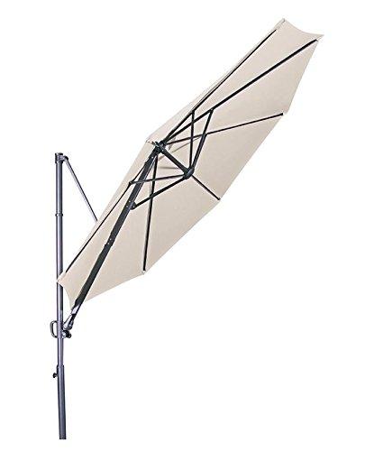 Doppler Hochwertiger Ampelschirm Ravenna 300 in natur, neigbar, 360 Grad drehbar, UV-Schutz 50 PLUS,