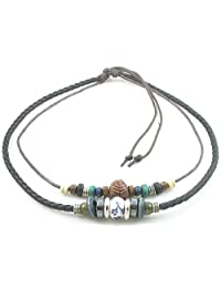 Ancient Tribe Adjustable Hemp Black Leather Wood Beads Choker Necklace,16 inches