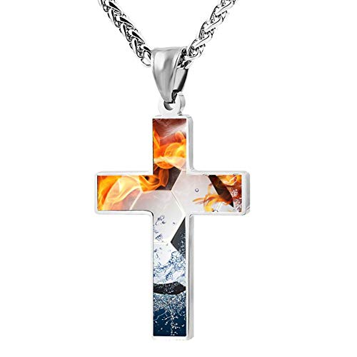 Davis-HO Fire Water Soccer Key Cross Necklace Holder