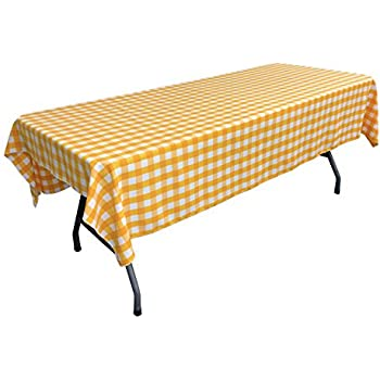 LA Linen Polyester Gingham Checkered Rectangular Tablecloth, White/Dark  Yellow, ...