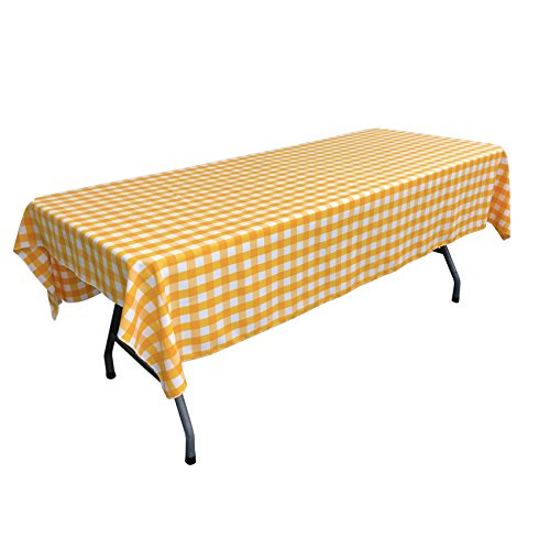 LA Linen Polyester Gingham Checkered Rectangular Tablecloth, White/Dark Yellow, 60