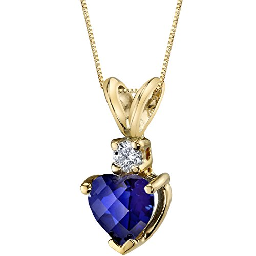 14 Karat Yellow Gold Heart Shape 1.00 Carats Created Blue Sapphire Diamond -