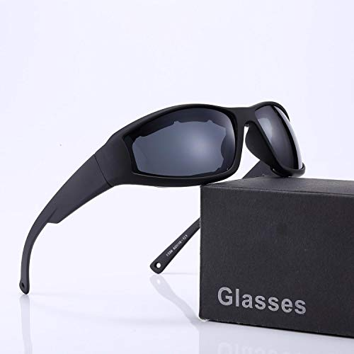 Polarized Motorcycle Sunglasses for Men and Women, Riding Glasses Adjustable UV Protective Windproof Dust-proof Anti Fog Sunglasses- Wraparound Frame - Case, Pouch & Cloth Included (Black ()