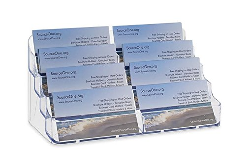 Multiple Holder - Source One 8 Pocket Desktop Clear Acrylic Business Card Holder (BC-8P)