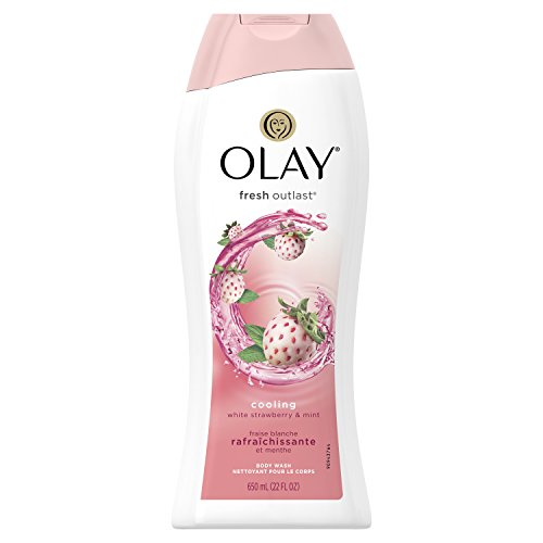 Olay Fresh Outlast Cooling White Strawberry and Mint Body Wash, 22 Fluid Ounce
