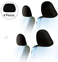 YupbizAuto 4x Cars Trucks & Cover Dvd tv Monitors Solid Black Polyester Universal Headrest Covers with Foam Backing- Set of 4
