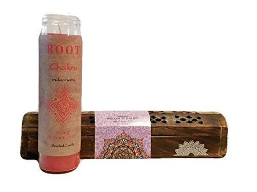 Set/Bundle: Zen Home Meditation Chakra Candle Jar Decorative Wooden Incense Burner with Cover & Storage Compartment