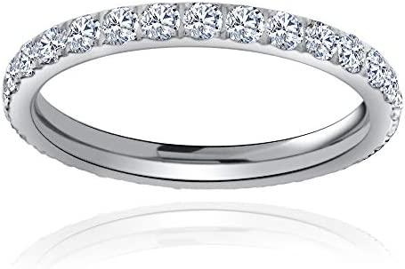 Flamereflection Titanium Cz Eternity Rings For Women Infinity