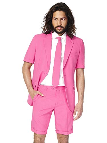 - OppoSuits Men's Summer Suit - Mr. Pink - Includes Shorts, Short-Sleeved Jacket & Tie