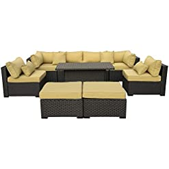 Garden and Outdoor Outdoor PE Wicker Rattan Furniture Set – 9 Piece Patio Garden Sectional Sofa Chair with Olive Green Cushion patio furniture sets