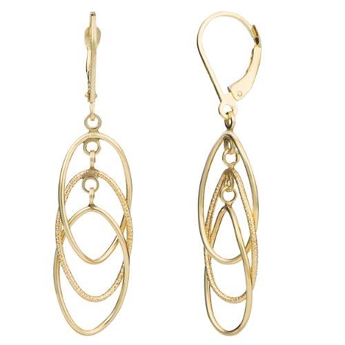 Kooljewelry 14k Yellow Gold Interlocking Ovals Leverback Earrings