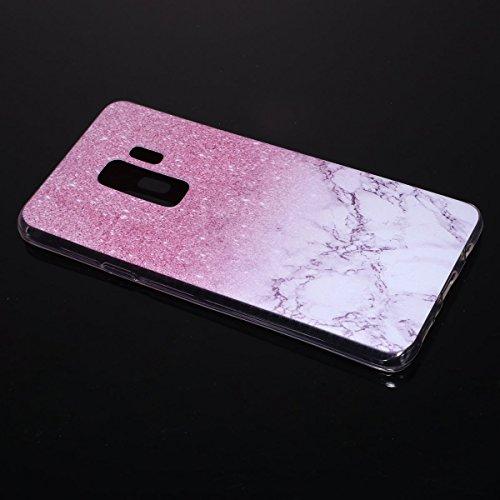 Funda Samsung Galaxy S9 Plus, EUWLY Samsung Galaxy S9 Plus Carcasa Transparente Silicona TPU Bumper Case Shock-Absorción Anti-Arañazos Anti-Choques Back Cover Protectora Funda Ultra Slim Crystal Claro Mármol Rosa