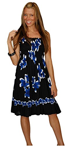 Black in Hibiscus Design 1 Womens World choice Sarongs with Sundress design of Blue your q007XgY
