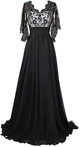 Meier Women's Sheer Sleeve Embrodiery Mother of Bride Evening Dress