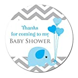 'Thank you for coming to my baby shower' stickers - 30mm in diameter, 'baby elephant', for party bags, Blue, Pink or Yellow (Blue)