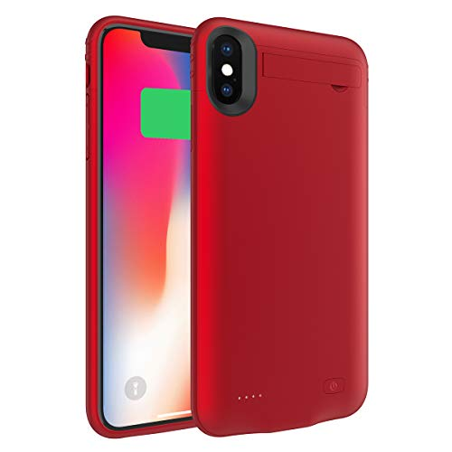Battery Case Compatible with iPhone XS Max, Charging Case 5200mAh Rechargeable External Portable Battery Pack Power Bank Extended Backup Protective Case Red