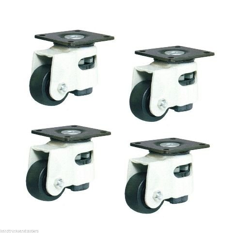 (Four) Swivel Leveling Caster 1-3/4'' Wheel Square Top Plate / 3200# Cap.
