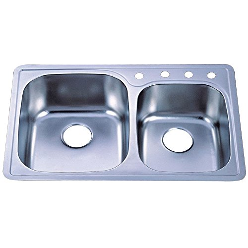 Kingston Brass Gourmetier GKTDD3322C Studio Self-Rimming Double Bowl Kitchen Sink, Brushed Stainless Steel