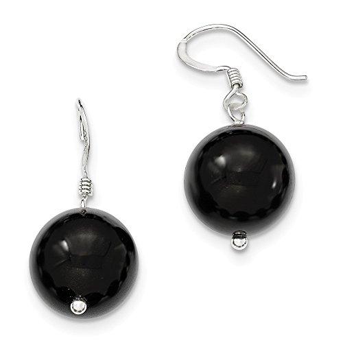 Sterling Silver 14mm Black Agate Earrings (1.1IN Long x 0.6IN - Earrings Black Silver Agate