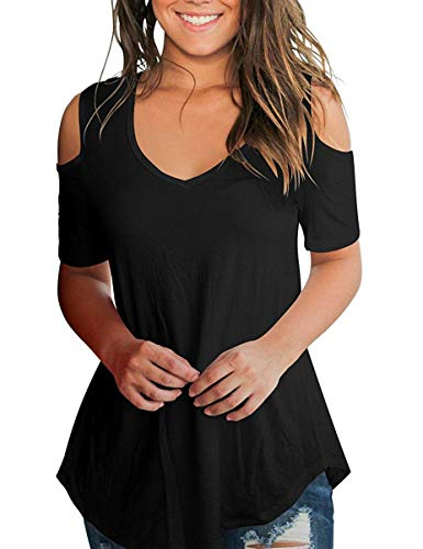Esther Womens Cut Out Shoulder T Shirts V Neck Casual Short Sleeve Solid Color Tops (Black, XXL) Casual Solid Cut Out