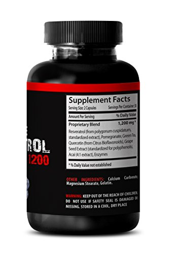 Natural Resveratrol with Acai and Green Tea Extracts - Premium Red Wine Extract 1200 - Maximum Strength Super Blend 6 Bottles 360 Capsules Discount