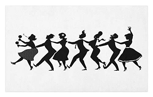 Lunarable Dance Doormat, Silhouette of Group of People in Late 1950s Early 1960s Fashion Dancing Conga Line, Decorative Polyester Floor Mat with Non-Skid Backing, 30 W X 18 L Inches, -
