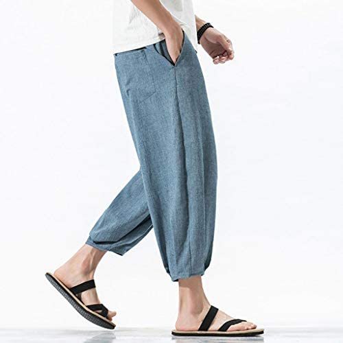 Mimoonkaka サルエルパンツ メンズ 大きいサイズ 袴パンツ メンズ ワイドパンツ 7分丈 麻 夏 無地 ゆったり パンツ メンズ ズボン 薄手 通気
