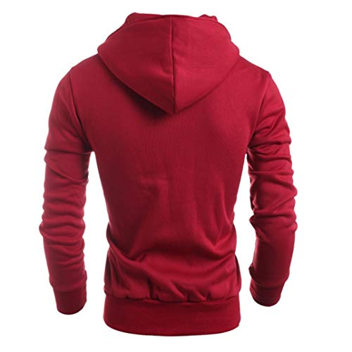 Fashion Autumn Winter Men Hooded Sweater Top Blouse Button Down Windproof Motorcycle Jacket Coat (Red, L) by Danhjin (Image #2)