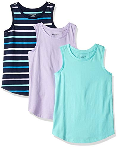Amazon Essentials Toddler Girls' 3-Pack Tank, Lilac Breeze/Multi Stripe Navy/Aqua, 4T
