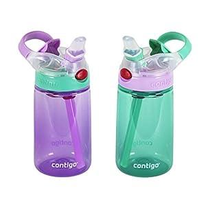 Contigo Kids Autospout Gizmo Water Bottle, 14oz Thistle/Persian Green -2 Pack