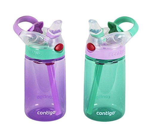 Contigo Kids Water Bottle, 2 Pack Autospout Gizmo - Plastic, 14oz - Leak and Spill Proof Bottles, Ideal for Travel and Activities, Easy-Clean and Dishwasher Safe - Press The Button For Pop Up Straw