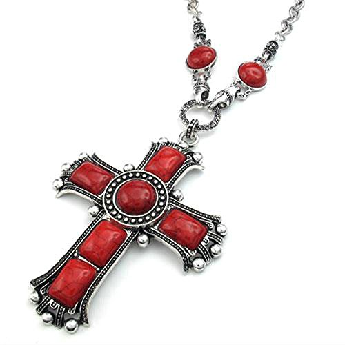 Jonline24h Mens Womens Vintage Large Gothic Cross Pendant Necklace & Chain, Red Silver (Red) Red Gothic Cross