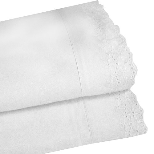 Veratex The Pembrook Collection Contemporary Lace 3-Piece Micro-Denier Luxury Fabric Elegant Bedroom Sheet Set, Twin Size, White