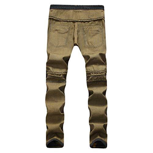 Slim Elasticizzato Pantaloni Da Per In Giallo Dritta Heavy Denim Uomo Casual Con Duty Fit Gamba Moderna IqgORq