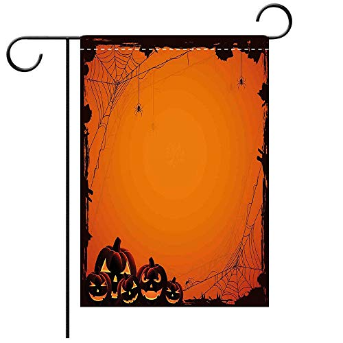 Custom Personalized Garden flag Outdoor flag Halloween Decorations Grunge Spider Web Pumpkins Horror Time of Year Trick or Treat Decorative Deck, patio, Porch, Balcony Backyard, Garden or Lawn
