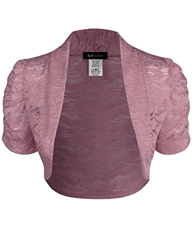 Pink Bolero - ELF FASHION Women Top Short Sleeve Floral Lace Shrug Open Front Bolero Cardigan (Size S~3XL) Dustypink M