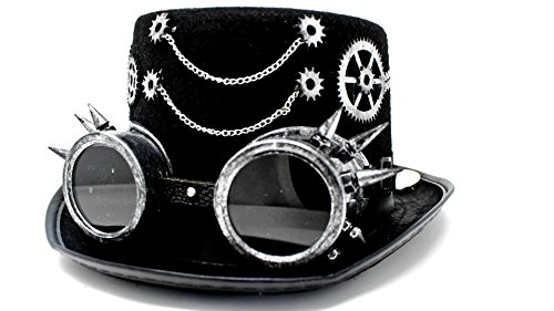 Rave Costumes Men (Steampunk Top Hat with Removable Steampunk Goggles and Gears Velvet 6.2