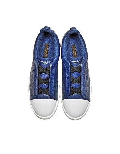 Z Zegna Mannen A2970xkarblu39 Blauw Lederen Slip Op Sneakers
