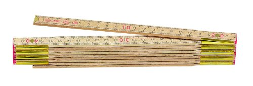 Metrica 23150 Holzgliedermassstab 2 m, rote Dezimalen, naturfarbe