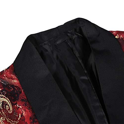 Homme Tops Longue Mode Costume Blouson Classique Imprimé Aimee7 Manche Rouge Veste Manteau Sg1Z5wq